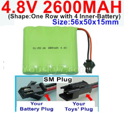 4.8V 2600MAH NI-MH Battery-With SM Plug-(Shape-One Row with 4 Inner-Battery)