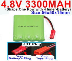 4.8V 3300MAH NI-MH Battery-With JST Plug-(Shape-One Row with 4 Inner-Battery)