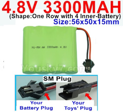 4.8V 3300MAH NI-MH Battery-With SM Plug-(Shape-One Row with 4 Inner-Battery)