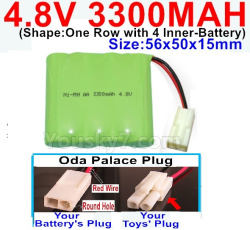 4.8V 3300MAH NI-MH Battery-With Oda Palace Plug(Round hole-Red Wire)-(Shape-One Row with 4 Inner-Battery)