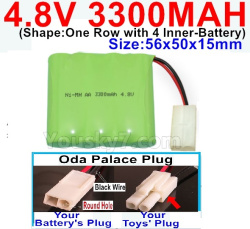 4.8V 3300MAH NI-MH Battery-With Oda Palace Plug(Round hole-Black Wire)-(Shape-One Row with 4 Inner-Battery)