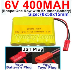 6V 400MAH Ni-CD Battery-With JST Plug-(Shape-One Row With 5 Inner-Battery)-Size-70x50x15mm