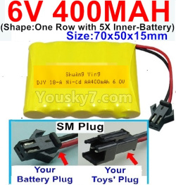 6V 400MAH Ni-CD Battery-With SM Plug-(Shape-One Row With 5 Inner-Battery)-Size-70x50x15mm