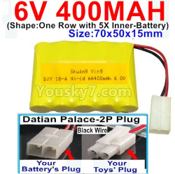 6V 400MAH Ni-CD Battery-With Datian Palace-2P Plug(The D-Shape hole is Black wire)-(Shape-One Row With 5 Inner-Battery)-Size-70x50x15mm