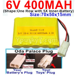6V 400MAH Ni-CD Battery-With Oda Palace Plug(Round hole-Red Wire)-(Shape-One Row With 5 Inner-Battery)-Size-70x50x15mm