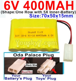 6V 400MAH Ni-CD Battery-With Oda Palace Plug(Round hole-Black Wire)-(Shape-One Row With 5 Inner-Battery)-Size-70x50x15mm