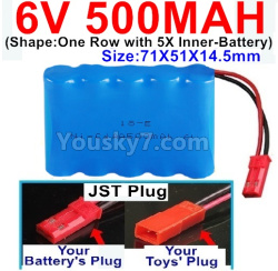 6V 500MAH Ni-CD Battery-With JST Plug-(Shape-One Row With 5 Inner-Battery)--Size-71X51X14.5mm