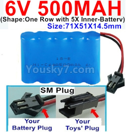 6V 500MAH Ni-CD Battery-With SM Plug-(Shape-One Row With 5 Inner-Battery)-Size-70x50x15mm