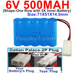 6V 500MAH Ni-CD Battery-With Datian Palace-2P Plug(The D-Shape hole is Black wire)-(Shape-One Row With 5 Inner-Battery)-Size-71X51X14.5mm