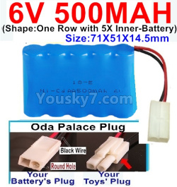 6V 500MAH Ni-CD Battery-With Oda Palace Plug(Round hole-Black Wire)-(Shape-One Row With 5 Inner-Battery)-Size-70x50x15mm