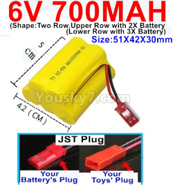 6V 700MAH Ni-MH Battery)-With JST Plug-(Shape-Upper Row with 2x Inner-Batery,Lower Row with 3x Inner-Battery)-Size-51X42X30mm