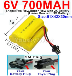 6V 700MAH Ni-MH Battery)-With SM Plug-(Shape-Upper Row with 2x Inner-Batery,Lower Row with 3x Inner-Battery)-Size-51X42X30mm