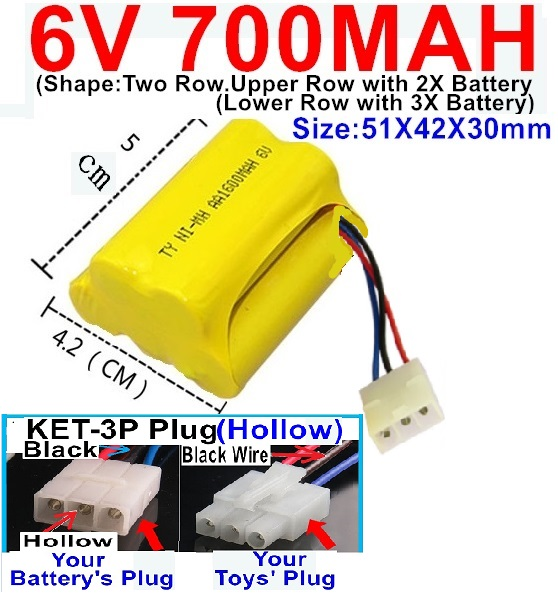 6V 700MAH Ni-MH Battery)-With KET-3P Plug(Hollow)-(2X Suare Hole+1X D-Shape Hole,The Middle hole is Black wire)-(Shape-Upper Row with 2x Inner-Batery,Lower Row with 3x Inner-Battery)-Size-51X42X30mm