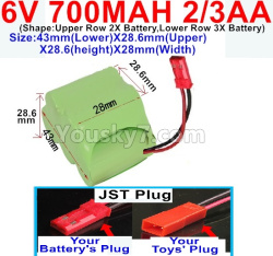 6V 700MAH Ni-CD Battery 2/3AA-With JST Plug-(Shape-One Row With 5 Inner-Battery)-(Shape-Upper Row 2X Battery,Lower Row 3X Battery)-Size-43mm(Lower)X28.6mm(Upper)X28.6(height)X28mm(Width)