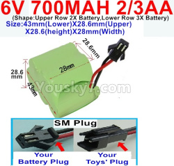 6V 700MAH Ni-CD Battery 2/3AA-With SM Plug-(Shape-One Row With 5 Inner-Battery)-(Shape-Upper Row 2X Battery,Lower Row 3X Battery)-Size-43mm(Lower)X28.6mm(Upper)X28.6(height)X28mm(Width)