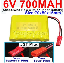 6V 700MAH Ni-CD Battery-With JST Plug-(Shape-One Row With 5 Inner-Battery)-Size-70x50x15mm