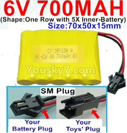 6V 700MAH Ni-CD Battery-With SM Plug-(Shape-One Row With 5 Inner-Battery)-Size-70x50x15mm
