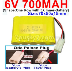 6V 700MAH Ni-CD Battery-With Oda Palace Plug(Round hole-Red Wire)-(Shape-One Row With 5 Inner-Battery)-Size-70x50x15mm