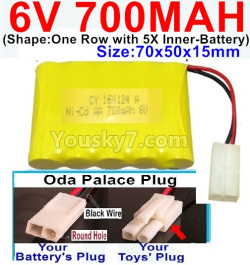 6V 700MAH Ni-CD Battery-With Oda Palace Plug(Round hole-Black Wire)-(Shape-One Row With 5 Inner-Battery)-Size-70x50x15mm