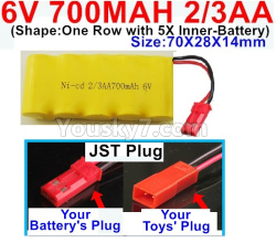 6V 700MAH Ni-CD Battery 2/3AA-With JST Plug-(Shape-One Row with 5X Inner-Battery)-Size-70X28X14mm
