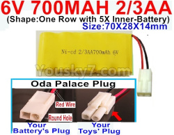 6V 700MAH Ni-CD Battery 2/3AA-With Oda Palace Plug(Round hole-Red Wire)-(Shape-One Row with 5X Inner-Battery)-Size-70X28X14mm