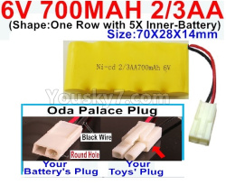 6V 700MAH Ni-CD Battery 2/3AA-With Oda Palace Plug(Round hole-Black Wire)-(Shape-One Row with 5X Inner-Battery)-Size-70X28X14mm