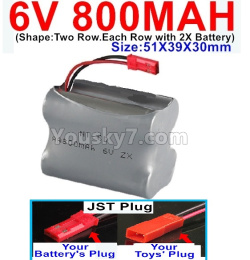 6V 800MAH Ni-CD Battery)-With JST Plug-(Shape-Two Row.Each Row with 2X Battery)-Size-51X39X30mm