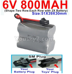 6V 800MAH Ni-CD Battery)-With SM Plug-(Shape-Two Row.Each Row with 2X Battery)-Size-51X39X30mm