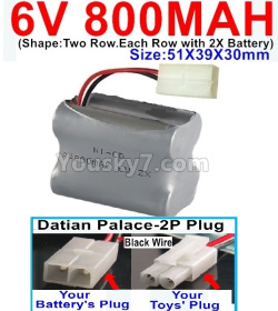 6V 800MAH Ni-CD Battery)-With Datian Palace-2P Plug(The D-Shape hole is Black wire)-(Shape-Two Row.Each Row with 2X Battery)-Size-51X39X30mm