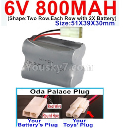 6V 800MAH Ni-CD Battery)-With Oda Palace Plug(Round hole-Red Wire)-(Shape-Two Row.Each Row with 2X Battery)-Size-51X39X30mm