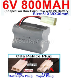 6V 800MAH Ni-CD Battery)-With Oda Palace Plug(Round hole-Black Wire)-(Shape-Two Row.Each Row with 2X Battery)-Size-51X39X30mm