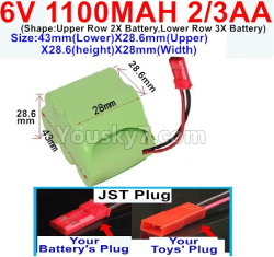 6V 1100MAH Ni-CD Battery 2/3AA-With JST Plug-(Shape-One Row With 5 Inner-Battery)-(Shape-Upper Row 2X Battery,Lower Row 3X Battery)-Size-43mm(Lower)X28.6mm(Upper)X28.6(height)X28mm(Width)