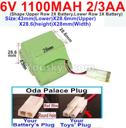 6V 1100MAH Ni-CD Battery 2/3AA-Oda Palace Plug(Round hole-Red Wire)-Size-43mm(Lower)X28.6mm(Upper)X28.6(height)X28mm(Width)