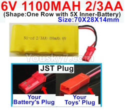 6V 1100MAH Ni-CD Battery 2/3AA-With JST Plug-(Shape-One Row with 5X Inner-Battery)-Size-70X28X14mm