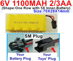 6V 1100MAH Ni-CD Battery 2/3AA-With SM Plug-(Shape-One Row with 5X Inner-Battery)-Size-70X28X14mm