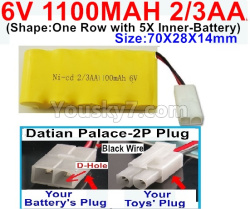 6V 1100MAH Ni-CD Battery 2/3AA-With Datian Palace-2P Plug(The D-Shape hole is Black wire)-(Shape-One Row with 5X Inner-Battery)-Size-70X28X14mm
