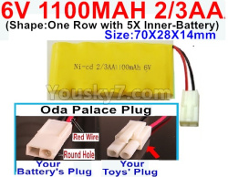 6V 1100MAH Ni-CD Battery 2/3AA-With Oda Palace Plug(Round hole-Red Wire)-(Shape-One Row with 5X Inner-Battery)-Size-70X28X14mm