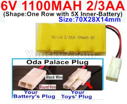 6V 1100MAH Ni-CD Battery 2/3AA-With Oda Palace Plug(Round hole-Black Wire)-(Shape-One Row with 5X Inner-Battery)-Size-70X28X14mm