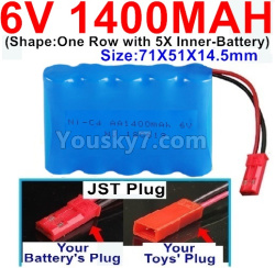 6V 1400MAH Ni-CD Battery-With JST Plug-(Shape-One Row With 5 Inner-Battery)--Size-71X51X14.5mm