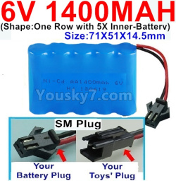 6V 1400MAH Ni-CD Battery-With SM Plug-(Shape-One Row With 5 Inner-Battery)-Size-70x50x15mm