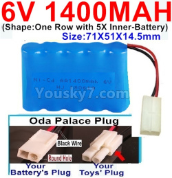 6V 1400MAH Ni-CD Battery-With Oda Palace Plug(Round hole-Black Wire)-(Shape-One Row With 5 Inner-Battery)-Size-70x50x15mm