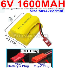 6V 1600MAH Ni-MH Battery)-With JST Plug-(Shape-Upper Row with 2x Inner-Batery,Lower Row with 3x Inner-Battery)-Size-50x42x27mm