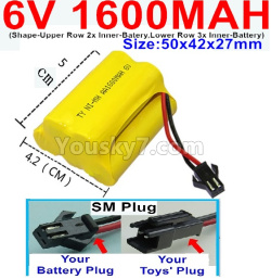6V 1600MAH Ni-MH Battery)-With SM Plug-(Shape-Upper Row with 2x Inner-Batery,Lower Row with 3x Inner-Battery)-Size-50x42x27mm