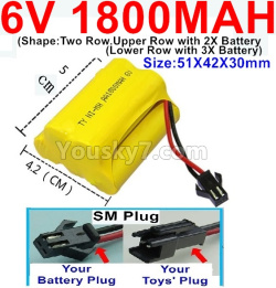 6V 1800MAH Ni-MH Battery)-With SM Plug-(Shape-Upper Row with 2x Inner-Batery,Lower Row with 3x Inner-Battery)-Size-51X42X30mm