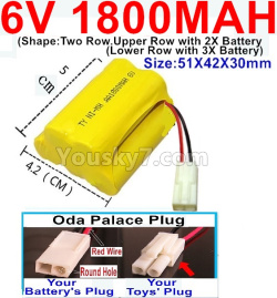 6V 1800MAH Ni-MH Battery)-With Oda Palace Plug(Round hole-Red Wire)-(Shape-Upper Row with 2x Inner-Batery,Lower Row with 3x Inner-Battery)-Size-51X42X30mm