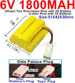 6V 1800MAH Ni-MH Battery)-With Oda Palace Plug(Round hole-Black Wire)-(Shape-Upper Row with 2x Inner-Batery,Lower Row with 3x Inner-Battery)-Size-51X42X30mm