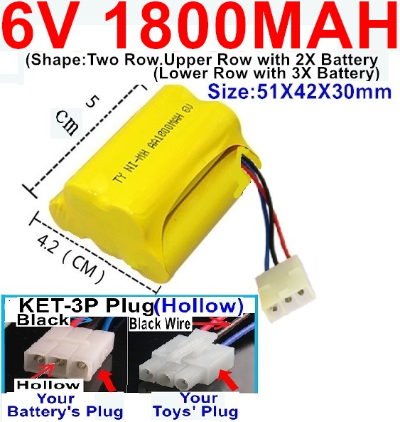 6V 1800MAH Ni-MH Battery)-With KET-3P Plug(Hollow)-(2X Suare Hole+1X D-Shape Hole,The Middle hole is Black wire)-(Shape-Upper Row with 2x Inner-Batery,Lower Row with 3x Inner-Battery)-Size-51X42X30mm