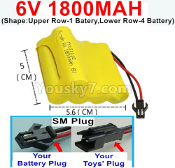 6V 1800MAH Ni-MH Battery)-With SM Plug(Shape-Upper Row-1 Inner-Batery,Lower Row-4 Inner-Battery)