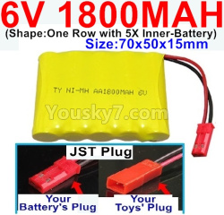 6V 1800MAH Ni-MH Battery-With JST Plug-(Shape-One Row With 5 Inner-Battery)-Size-70x50x15mm