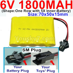 6V 1800MAH Ni-MH Battery-With SM Plug-(Shape-One Row With 5 Inner-Battery)